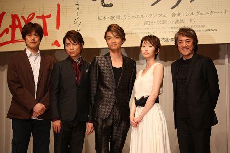 ミュージカル『モーツァルト!』会見より。写真左から、山口祐一郎、山崎育三郎、井上芳雄、島袋寛子、市村正親