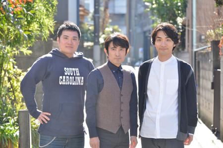左から、筒井俊作、西川浩幸、阿部丈二  撮影:源 賀津己