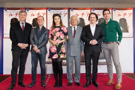 制作発表会見より。(左から)ジャン=ルイ・グリンダ、ジャンパオロ・ビザンティ、オルガ・ペレチャッコ=マリオッティ、飯守泰次郎、アルトゥール・ルチンスキー、イスマエル・ジョルディ