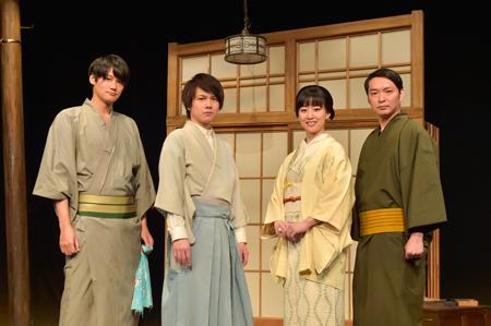 会見より。左から、寿里、平野良、帆風成海、今立進  撮影:鏡田伸幸