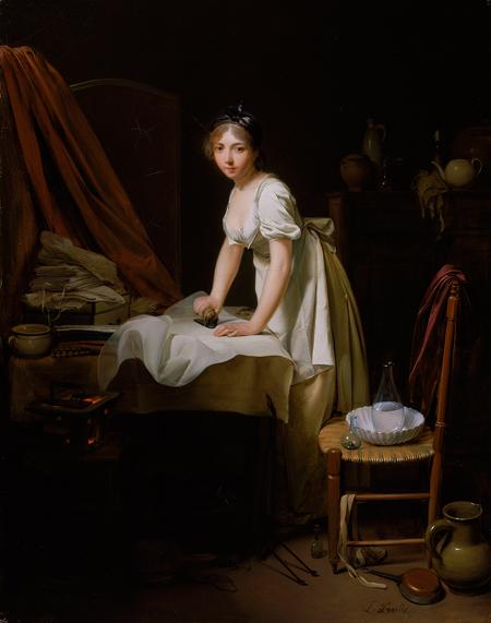 ルイ=レオポルド・ボワイ―《アイロンをかける若い女性》1800年頃 Charles H. Bayley Picture and Painting Fund 1983.10