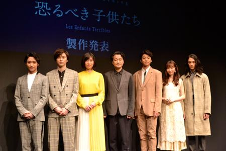 (左から)松岡広大、柾木玲弥、南沢奈央、白井晃、伊藤健太郎、岡本夏美、栗原類