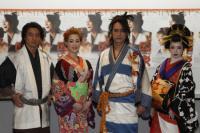舞台『戯伝写楽』が開幕。左より葛山信吾、大和悠河、橋本さとし、ソニン
