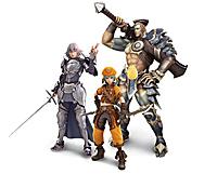 『ドットハック』キャラクター 左からバルドル(智彦)、カイト(そら)、ゴンドー(翔)