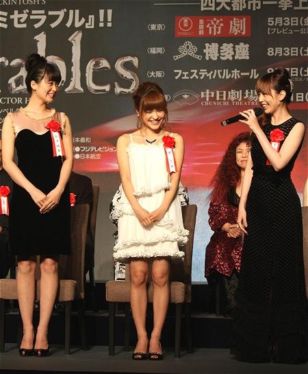エポニーヌ役 左から笹本玲奈、昆夏美、平野綾