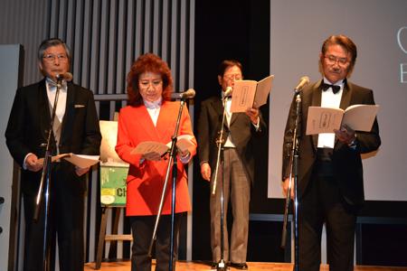"""会見当日は""""口演""""のデモンストレーションも。前列左から羽佐間道夫、野沢雅子、千葉繁。後列にナレーター役の近石真介"""