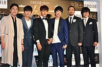 韓国ミュージカル『三銃士』日本公演キャスト 左からキム・ボムレ、キム・ミンジョン、Jun. K、オム・ギジュン、シン・ソンウ、ミン・ヨンギ