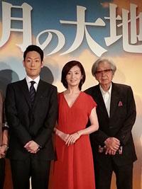 会見より。左から、中村勘九郎、檀れい、山田洋次