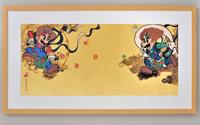マリオ&ルイージ図屏風木版画額装 (C) Nintendo, 作 山本太郎  2015年
