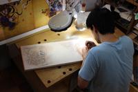 「スーパーマリオ30周年 マリオ&ルイージ図屏風木版画」制作工程の様子 (C) Nintendo, 作 山本太郎  2015年