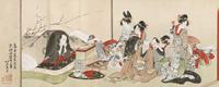 隅田川両岸景色図巻(部分:吉原室内) 所蔵:すみだ北斎美術館
