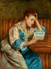 メアリー・スティーヴンソン・カサット《縞模様のソファで読書するダフィー夫人》1876年 Bequest of John T. Spaulding 48.523