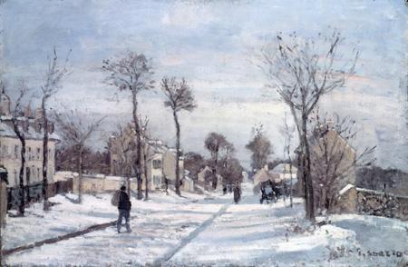 カミーユ・ピサロ《ルーヴシエンヌの雪道》