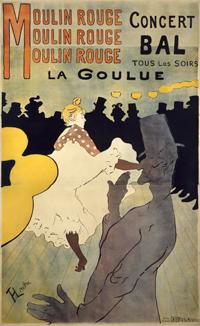 アンリ・ド・トゥールーズ=ロートレック《ムーラン・ルージュ、ラ・グーリュ》1891年 多色刷りリトグラフ 三菱一号館美術館