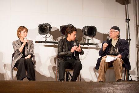 左から、ハルカ、中川晃教、松本零士  撮影:石阪大輔