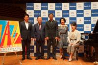 記者会見の模様 (左から)福田紀彦、山田長満、福本純也、斉田佳子、宮本貴奈