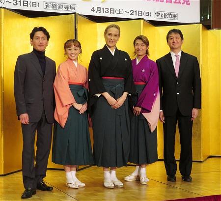 左から平澤智(作・演出)、舞美りら、桐生麻耶、楊琳、山村友五郎(作・演出)