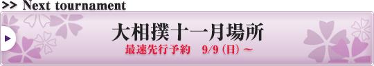 大相撲十一月場所 最速先行予約 9/9(日)~